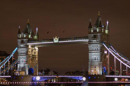 Illuminated London Tower Bridge at night