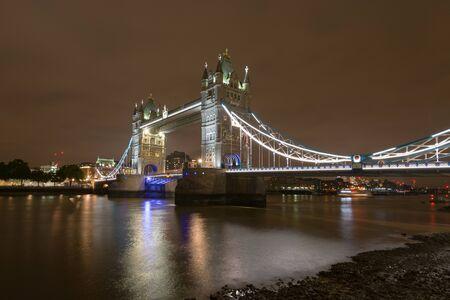 (Long exposure) shot of illuminated London Tower Bridge at night