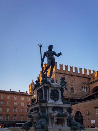 Bologna, Italy – June 26, 2019: Famous Fontana del Nettuno (Neptune Fountain) at Piazza del Nettuno in Bologna, Italy