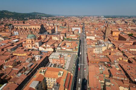 Aerial panoramic cityscape of Bologna, Italy with a view from the top of Asinelli tower in western direction