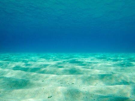 Sandy underwater sand on a shallow seabed in the Mediterranean sea with reflections of sunlight, natural scene, Sardinia, Italy