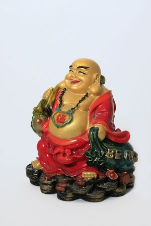 Happy buddha with large smile on his face photo
