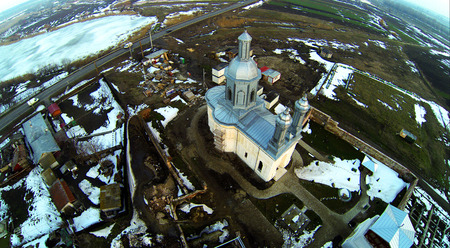 Aerial photo with a isolated church
