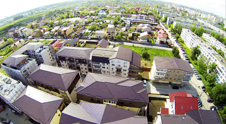 Aerial photo with houses