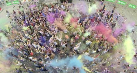 holi color - aerial photo