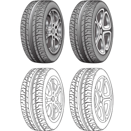 Illustrator Rendered and Outlines of Tires