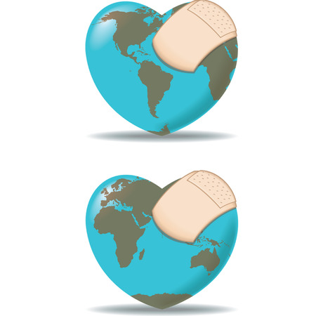 Earth as a heart with a bandage Illustration