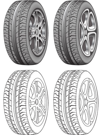 car tire: Realistic Vector Render of Tires