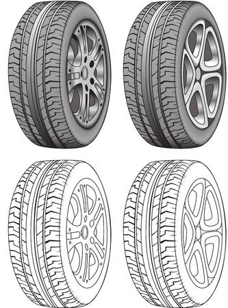 felgen: Realistische Vector Render von Reifen Illustration