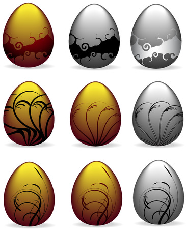 set of 9 ornate easter eggs - silver and gold - vector illustrations