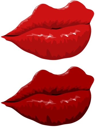 luscious red lips - vector illustrations