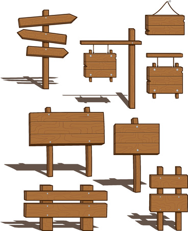 Set of Wood Signs - shadows on separate layer for easy removal - vector illustrations