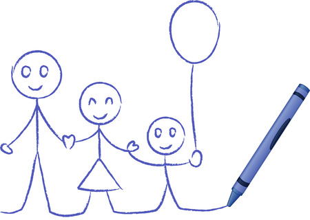 Crayon drawn familiy - vector illustration