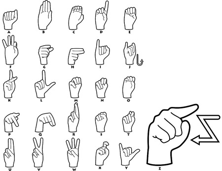 handicapped: Sign Language Alphabet Illustration