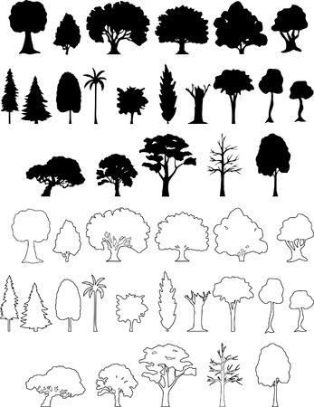 for�t r�sineux: silhouettes d'arbres Illustration