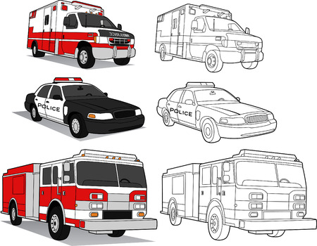 AMBULANCE, POLICE CAR, FIRE ENGINE