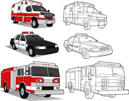 Ambulancia, policía CAR, FIRE ENGINE