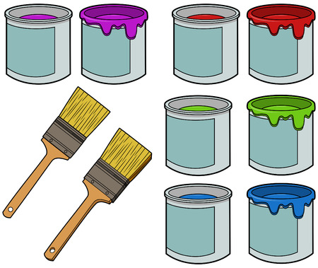 Paint Brushes and Cans Illustration