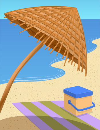 Tranquil Beach Scene Vector