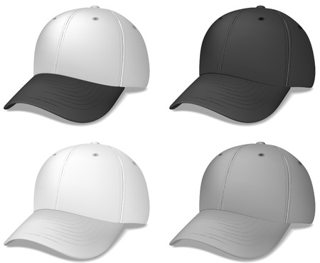 kapaklar: Sports Cap - realistic vector illustration - these were created with a gradient mesh for a more realistic look.  Shadow is on a separate layer for easy removal.