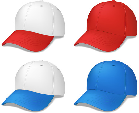 Sports Cap - realistic vector illustration - these were created with a gradient mesh for a more realistic look.  Shadow is on a separate layer for easy removal. Stock Vector - 5627697