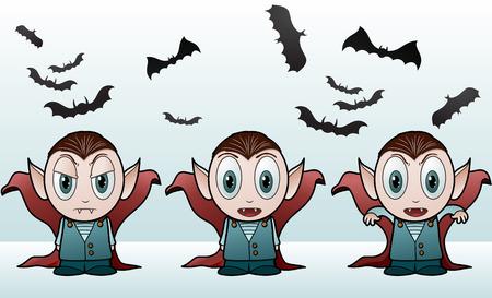 Vampire Kid Banner - vector illustration Illustration