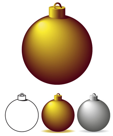 silver christmas: Christmas tree ornaments - vector illustration