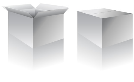 Boxes - open and closed - vector illustration Çizim