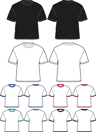 sleeves: Mens T-shirt Templates - vector illustration