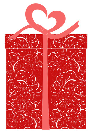 gift box - vector illustration with heart decorations