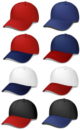 Set of realistic baseball caps - vector illustrations Vettoriali