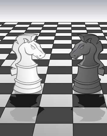 Knights on a chess board - illustration