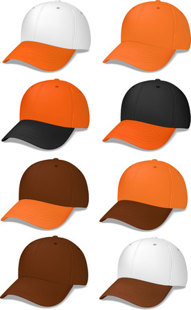 Baseball caps in brown andor orange - vector illustrations