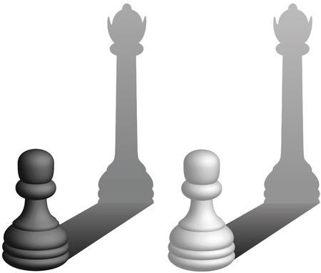 Chess pawns become queens - vector illustration Vettoriali