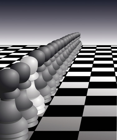 White pawn stands out in a crowd - vector illustration