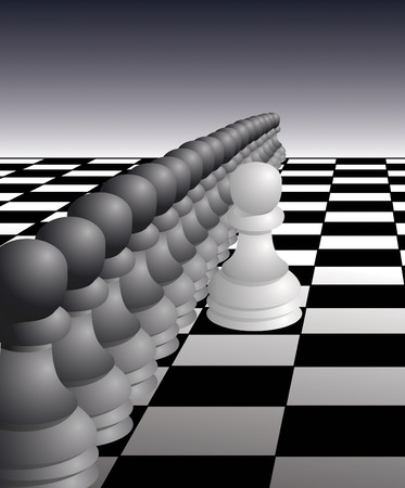 Single White Pawn stands up against a wall of Black Pawns - vector illustration Illustration
