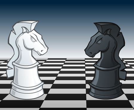 Chess Knights Face Off -  illustration