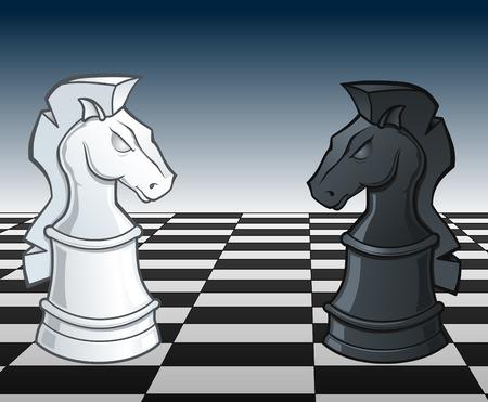 Checs chevaliers Face Off - illustration Banque d'images - 6297066