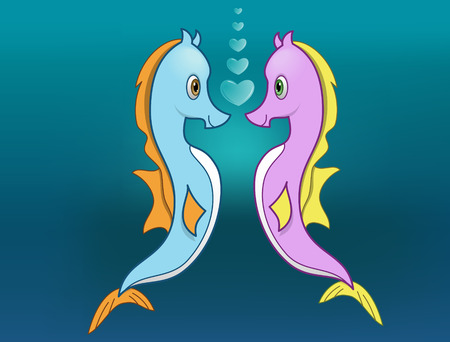 Seahorse Love - vector illustration