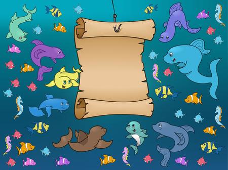 Marine Life Surrounding a Map Underwater Vector