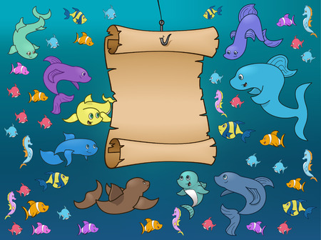 Marine Life Surrounding a Map Underwater Vectores