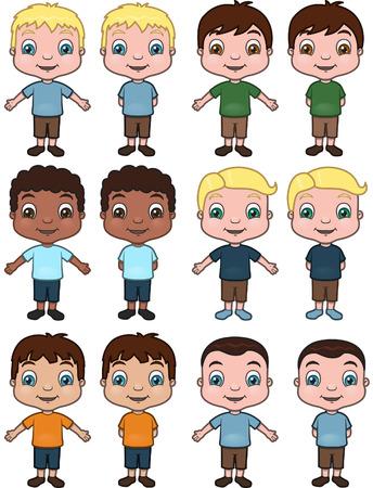 hispanic boys: Boys - set of illustrations