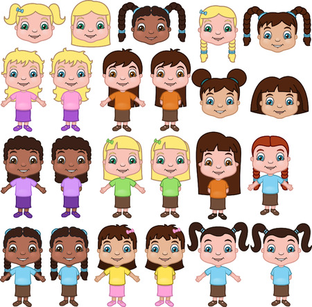 Little Girls - this is a set of little girls in a variety of ethnic and hairstyle types. Vettoriali