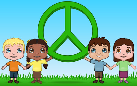 Kids Holding Peace Illustration