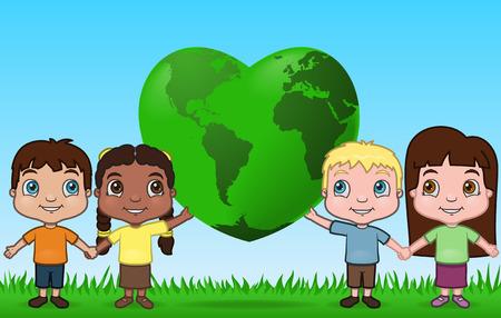 Kinderen Holding The World Up  Stock Illustratie