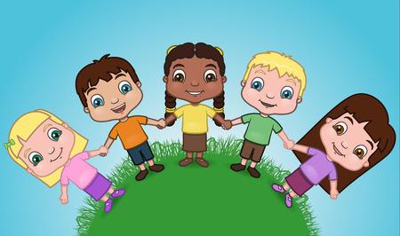 child care: Diverse group of kids holding hands. Illustration