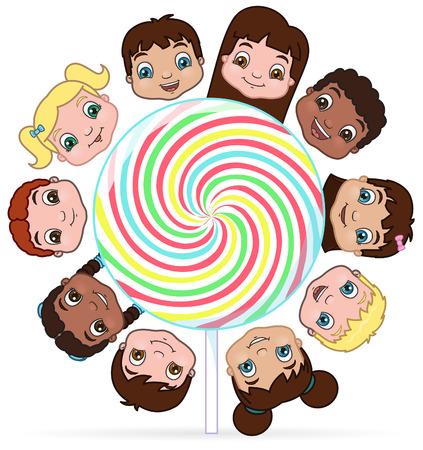 little girl eating: Kids sharing a lollipop  illustration