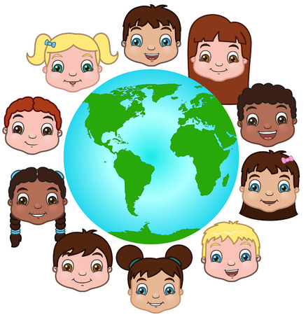 circle shape: Children around the world illustration Illustration