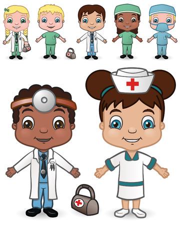 hospital dibujo animado: Este es el segundo conjunto de una variedad de niños disfrazados de médicos y enfermeras.
