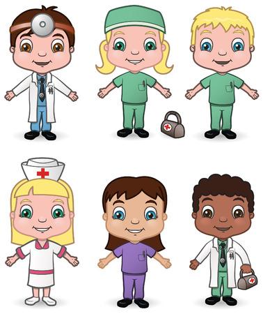 hospital dibujo animado: Este es el tercer conjunto de una variedad de niños disfrazados de médicos y enfermeras. Vectores